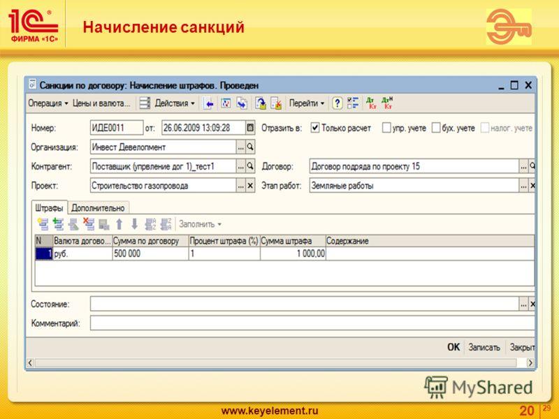 20 29 www.keyelement.ru Начисление санкций