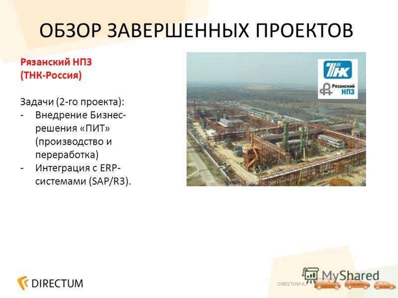 DIRECTUM 4.7 ОБЗОР ЗАВЕРШЕННЫХ ПРОЕКТОВ Рязанский НПЗ (ТНК-Россия) Задачи (2-го проекта): -Внедрение Бизнес- решения «ПИТ» (производство и переработка) -Интеграция с ERP- системами (SAP/R3).