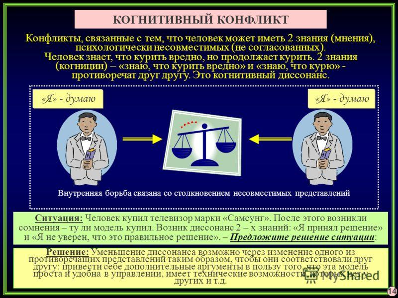 КОГНИТИВНЫЙ КОНФЛИКТ Конфликты, связанные с тем, что человек может иметь 2 знания (мнения), психологически несовместимых (не согласованных). Человек знает, что курить вредно, но продолжает курить. 2 знания (когниции) – «знаю, что курить вредно» и «зн