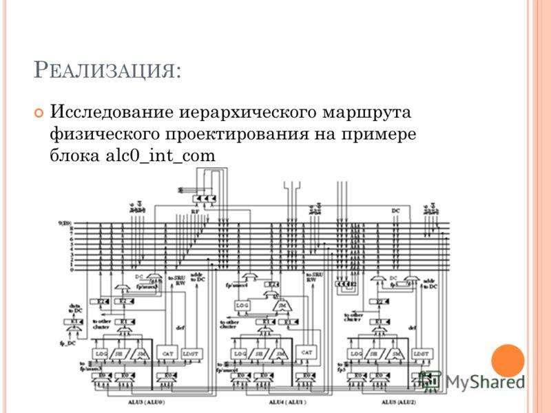 Р ЕАЛИЗАЦИЯ : Исследование иерархического маршрута физического проектирования на примере блока alc0_int_com