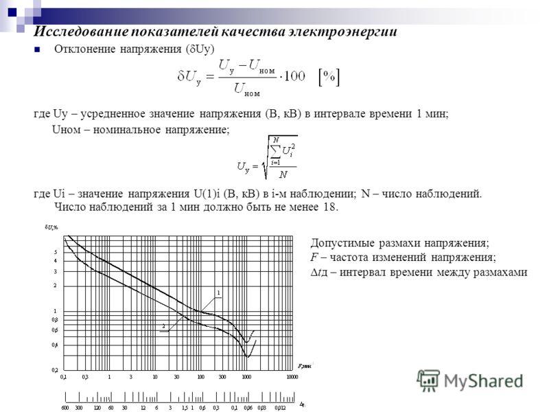 Исследование показателей качества электроэнергии Отклонение напряжения ( Uу) где Uу – усредненное значение напряжения (В, кВ) в интервале времени 1 мин; Uном – номинальное напряжение; где Ui – значение напряжения U(1)i (В, кВ) в i-м наблюдении; N – ч