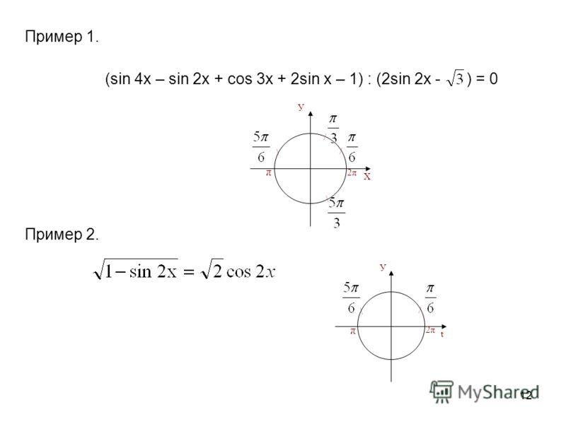 12 Пример 1. (sin 4x – sin 2x + cos 3x + 2sin x – 1) : (2sin 2x - ) = 0 Пример 2. \ У t / π 2π \ π У Х / / \