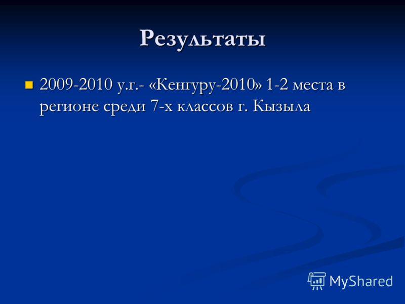 Результаты 2009-2010 у.г.- «Кенгуру-2010» 1-2 места в регионе среди 7-х классов г. Кызыла 2009-2010 у.г.- «Кенгуру-2010» 1-2 места в регионе среди 7-х классов г. Кызыла