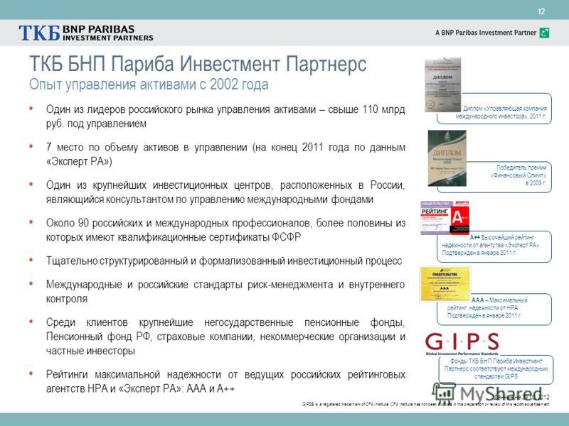 12 ТКБ БНП Париба Инвестмент Партнерс Опыт управления активами c 2002 года Один из лидеров российского рынка управления активами – свыше 110 млрд руб. под управлением 7 место по объему активов в управлении (на конец 2011 года по данным «Эксперт РА»)