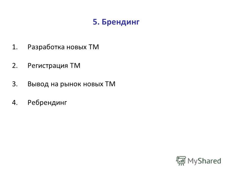 5. Брендинг 1.Разработка новых ТМ 2.Регистрация ТМ 3.Вывод на рынок новых ТМ 4.Ребрендинг
