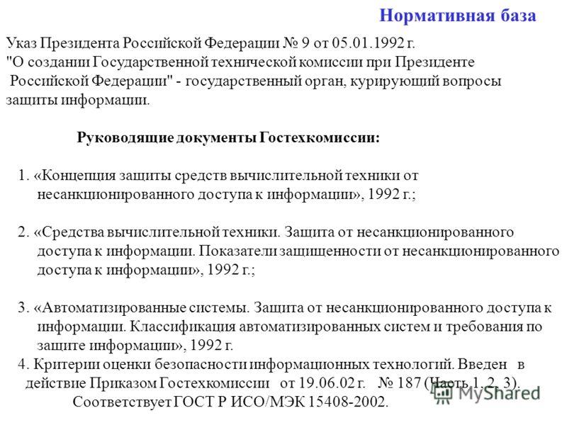 Нормативная база Указ Президента Российской Федерации 9 от 05.01.1992 г.