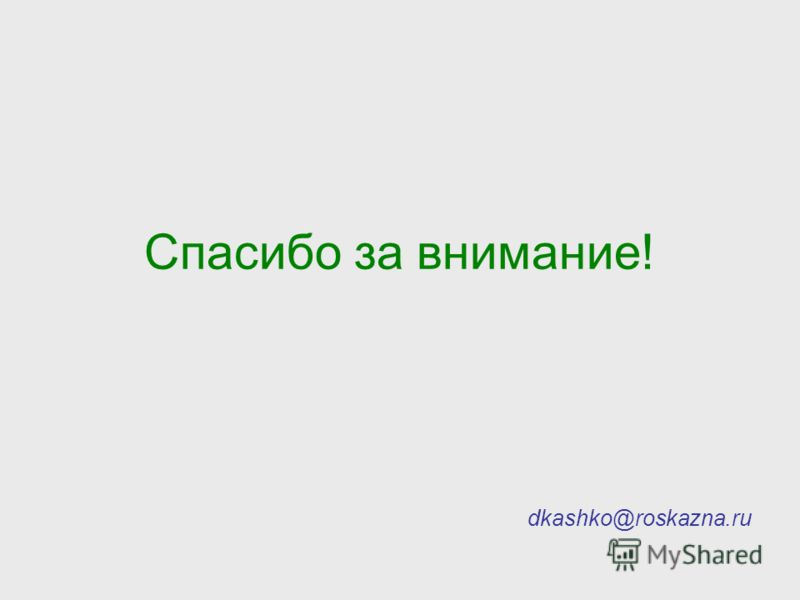 Спасибо за внимание! dkashko@roskazna.ru