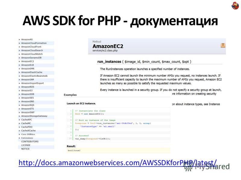 AWS SDK for PHP - документация http://docs.amazonwebservices.com/AWSSDKforPHP/latest/