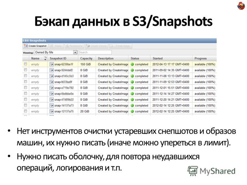 Бэкап данных в S3/Snapshots Нет инструментов очистки устаревших снепшотов и образов машин, их нужно писать (иначе можно упереться в лимит). Нужно писать оболочку, для повтора неудавшихся операций, логирования и т.п.