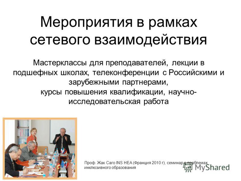 Мероприятия в рамках сетевого взаимодействия Мастерклассы для преподавателей, лекции в подшефных школах, телеконференции с Российскими и зарубежными партнерами, курсы повышения квалификации, научно- исследовательская работа Проф. Жак Саго INS HEA (Фр
