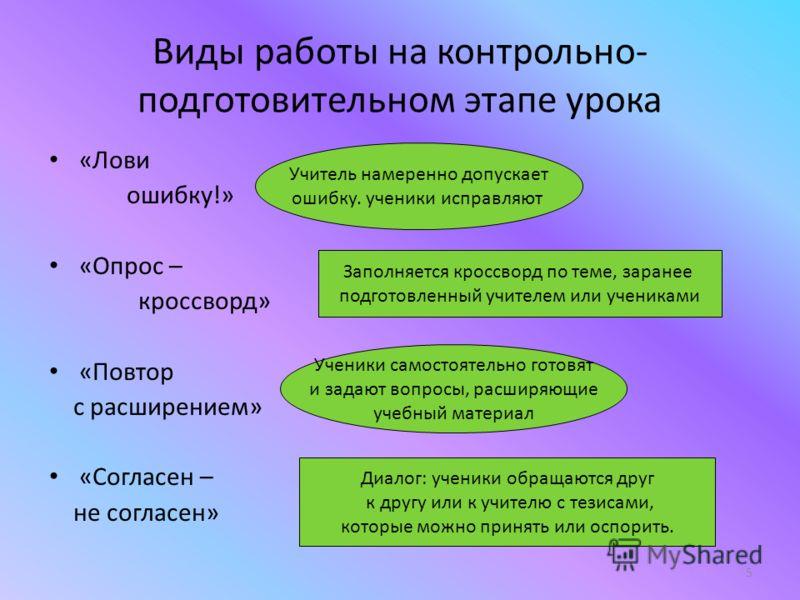 5 Виды работы на контрольно- подготовительном этапе урока «Лови ошибку!» «Опрос – кроссворд» «Повтор с расширением» «Согласен – не согласен» Учитель намеренно допускает ошибку. ученики исправляют Заполняется кроссворд по теме, заранее подготовленный