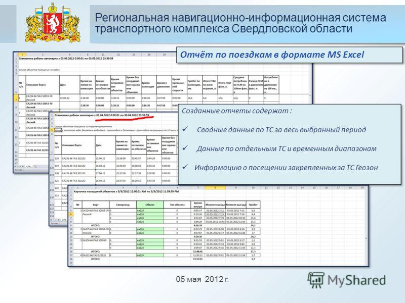 05 мая 2012 г. Региональная навигационно-информационная система транспортного комплекса Свердловской области Отчёт по поездкам в формате MS Excel Созданные отчеты содержат : Сводные данные по ТС за весь выбранный период Данные по отдельным ТС и време
