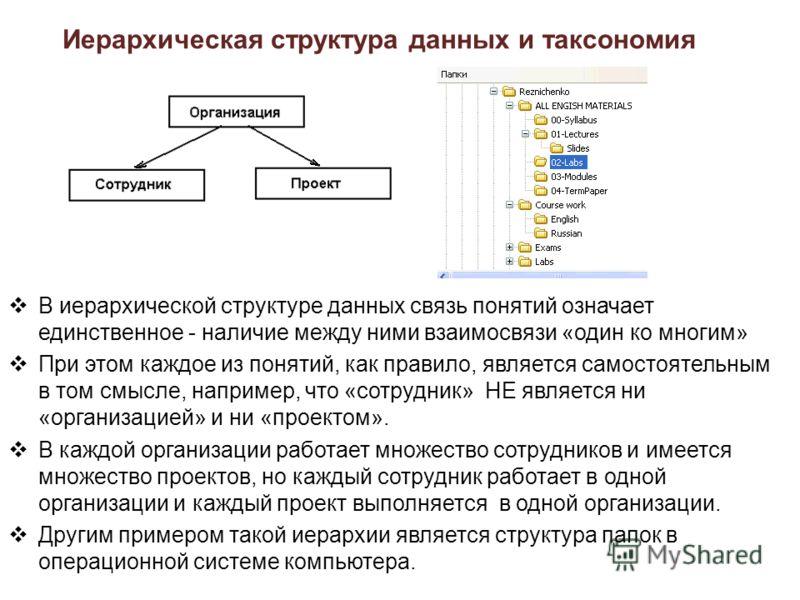 Иерархическая структура данных и таксономия В иерархической структуре данных связь понятий означает единственное - наличие между ними взаимосвязи «один ко многим» При этом каждое из понятий, как правило, является самостоятельным в том смысле, наприме