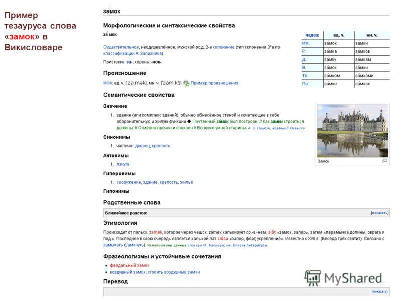 Пример тезауруса слова «замок» в Викисловаре
