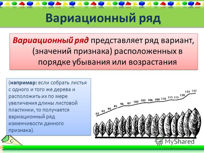 Построение вариационной кривой средняя величина выраженности признака где М – средняя величина, V – варианта, P – частота встречаемости вариант, n – общее число вариант вариационного ряда. 16 Вариационная кривая – это графическое изображение зависимо