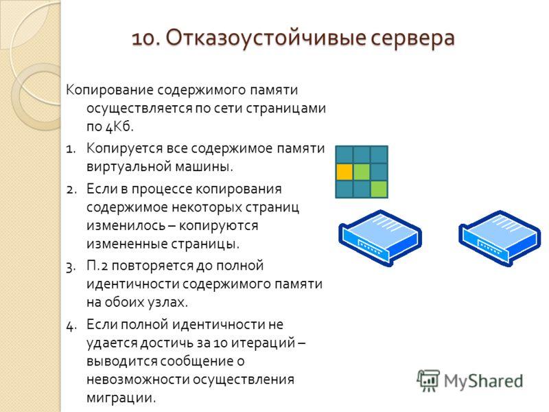Копирование содержимого памяти осуществляется по сети страницами по 4Кб. 1.Копируется все содержимое памяти виртуальной машины. 2.Если в процессе копирования содержимое некоторых страниц изменилось – копируются измененные страницы. 3.П.2 повторяется