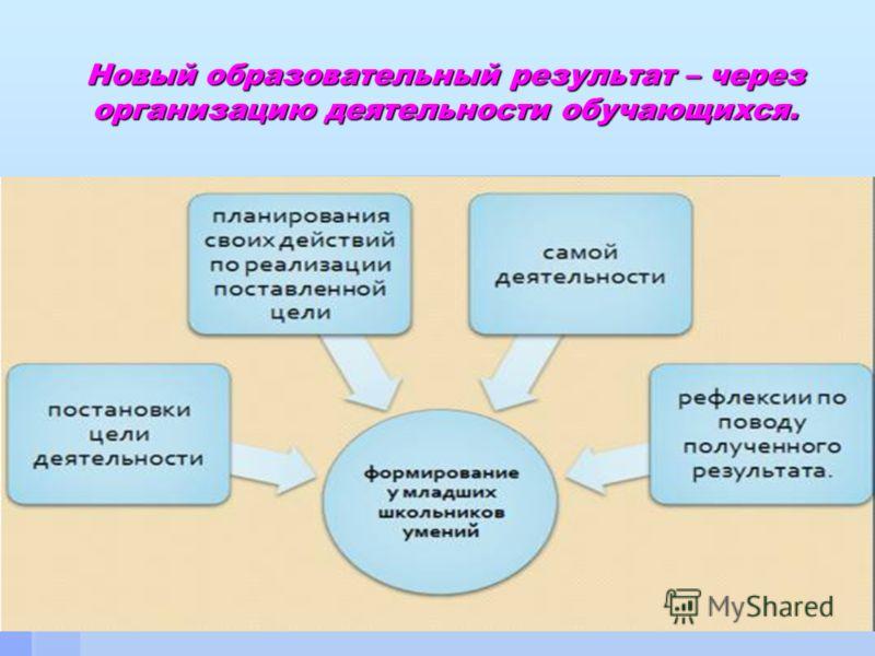 Новый образовательный результат – через организацию деятельности обучающихся.