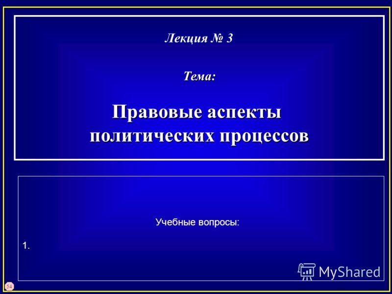 54 Лекция 3Тема: Правовые аспекты политических процессов Учебные вопросы: 1.
