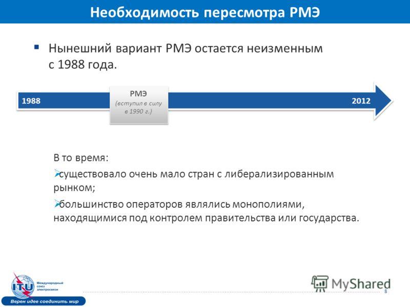 Нынешний вариант РМЭ остается неизменным с 1988 года. В то время: существовало очень мало стран с либерализированным рынком; большинство операторов являлись монополиями, находящимися под контролем правительства или государства. 8 1988 2012 РМЭ (вступ