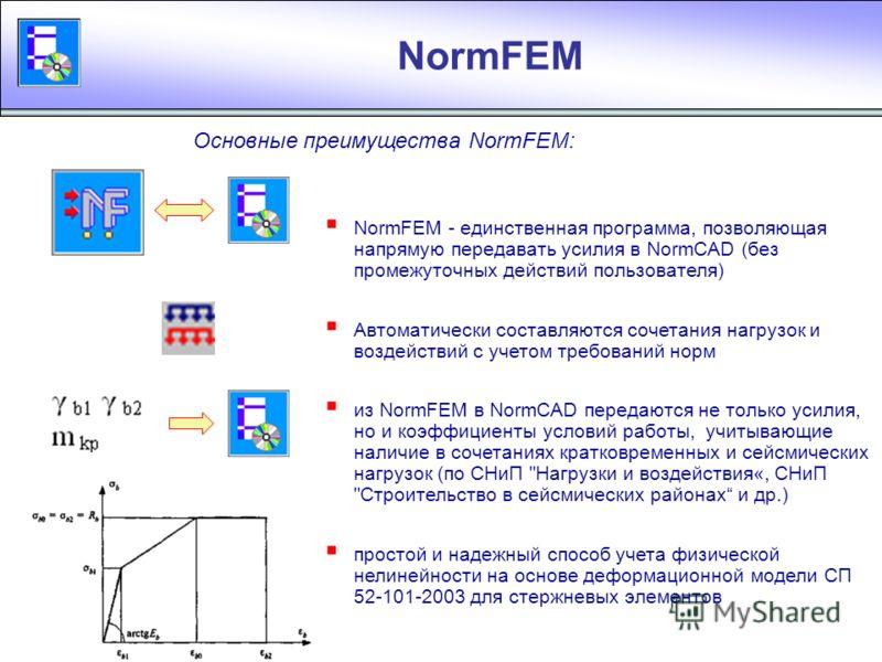 NormFEM МКЭ - модуль в составе пакета NormCAD Программа NormFEM для расчета усилий в элементах конструкций методом конечных элементов и передачи в NormCAD таблиц усилий статический расчет плоских и пространственных конструкций подбор сочетаний нагруз