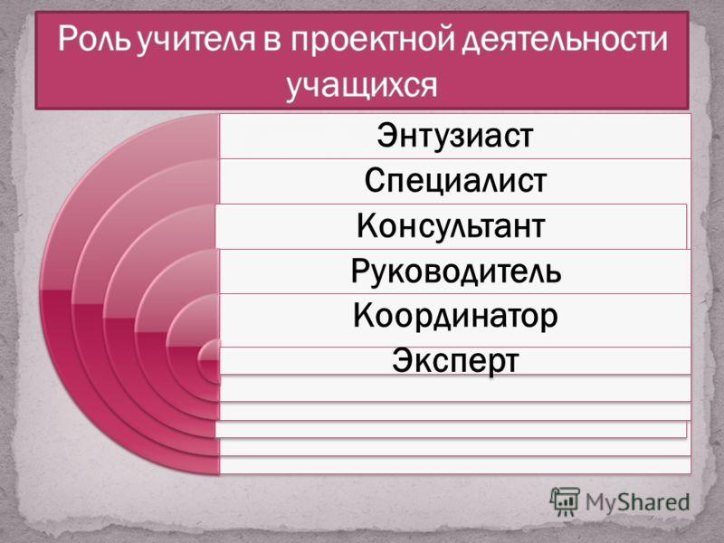 Энтузиаст Специалист Консультант Руководитель Координатор Эксперт