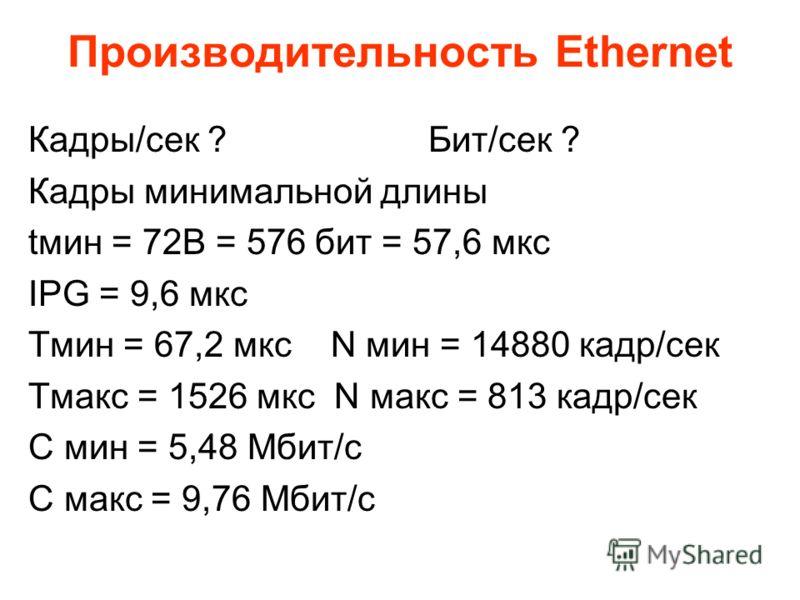 Производительность Ethernet Кадры/сек ?Бит/сек ? Кадры минимальной длины tмин = 72B = 576 бит = 57,6 мкс IPG = 9,6 мкс Тмин = 67,2 мкс N мин = 14880 кадр/сек Тмакс = 1526 мкс N макс = 813 кадр/сек С мин = 5,48 Мбит/c C макс = 9,76 Мбит/c