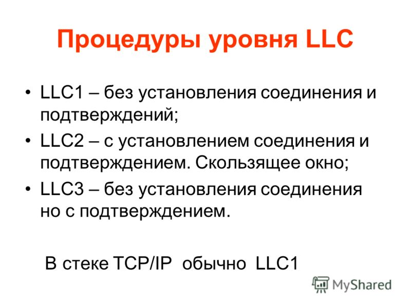 Процедуры уровня LLC LLC1 – без установления соединения и подтверждений; LLC2 – c установлением соединения и подтверждением. Скользящее окно; LLC3 – без установления соединения но с подтверждением. В стеке TCP/IP обычно LLC1