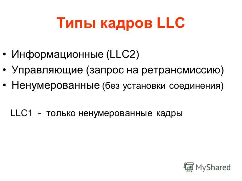 Типы кадров LLC Информационные (LLC2) Управляющие (запрос на ретрансмиссию) Ненумерованные (без установки соединения) LLC1 - только ненумерованные кадры