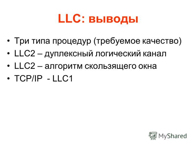 LLC: выводы Три типа процедур (требуемое качество) LLC2 – дуплексный логический канал LLC2 – алгоритм скользящего окна TCP/IP - LLC1