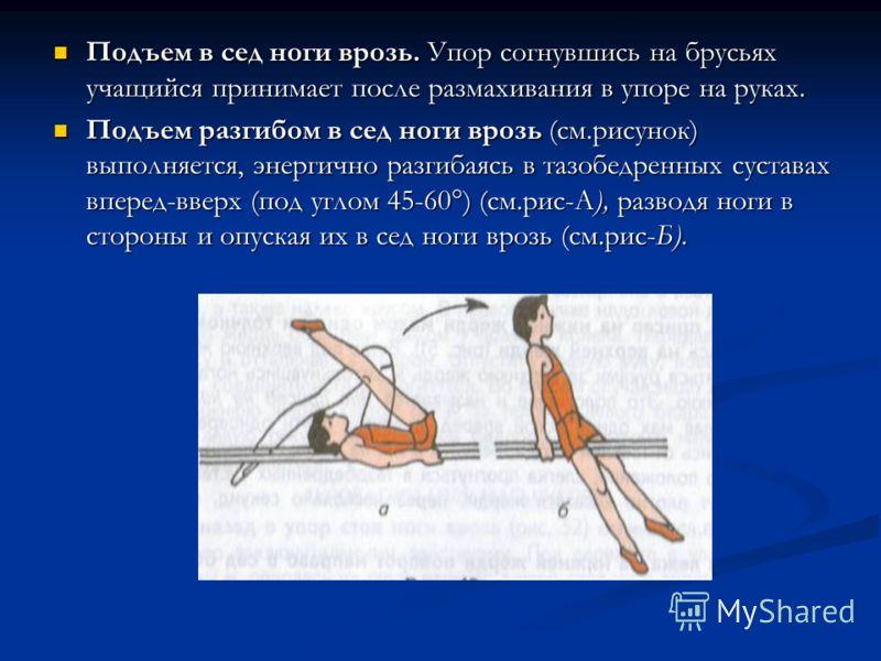 Подъем в сед ноги врозь. Упор согнувшись на брусьях учащийся принимает после размахивания в упоре на руках. Подъем в сед ноги врозь. Упор согнувшись на брусьях учащийся принимает после размахивания в упоре на руках. Подъем разгибом в сед ноги врозь (