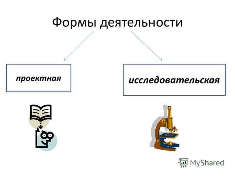 Формы деятельности проектная исследовательская