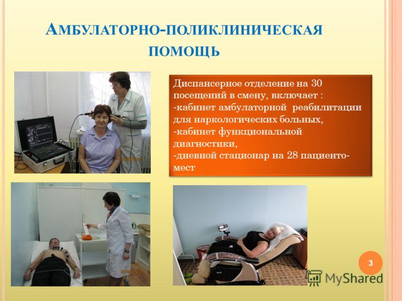А МБУЛАТОРНО - ПОЛИКЛИНИЧЕСКАЯ ПОМОЩЬ 3 Диспансерное отделение на 30 посещений в смену, включает : -кабинет амбулаторной реабилитации для наркологических больных, -кабинет функциональной диагностики, -дневной стационар на 28 пациенто- мест Диспансерн