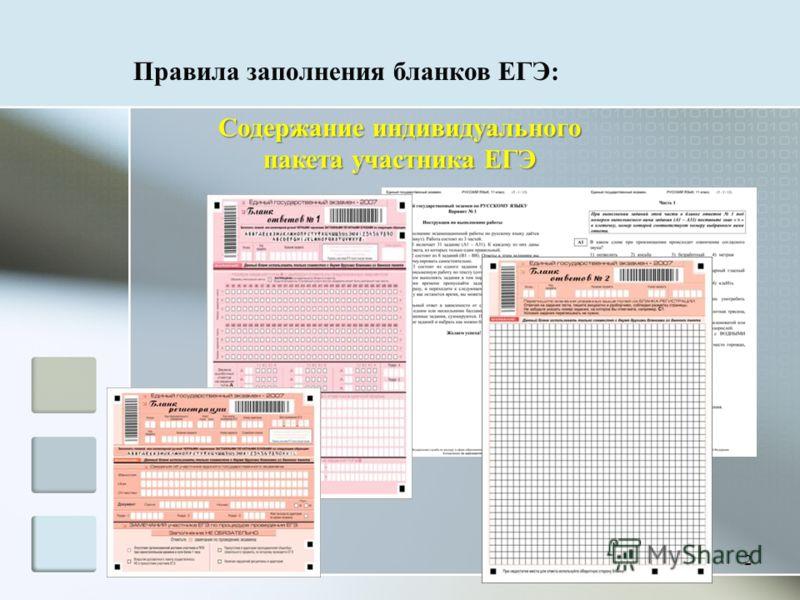 Правила заполнения бланков ЕГЭ: 2 Содержание индивидуального пакета участника ЕГЭ