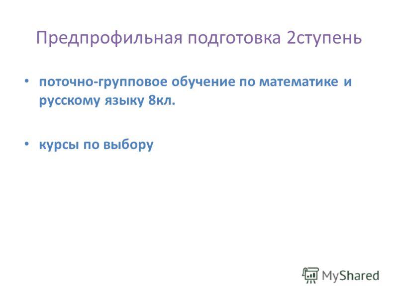 Предпрофильная подготовка 2ступень поточно-групповое обучение по математике и русскому языку 8кл. курсы по выбору