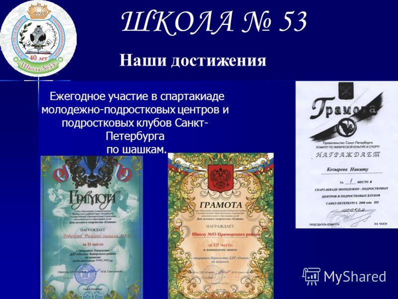 ШКОЛА 53 Наши достижения Ежегодное участие в спартакиаде молодежно-подростковых центров и подростковых клубов Санкт- Петербурга по шашкам.