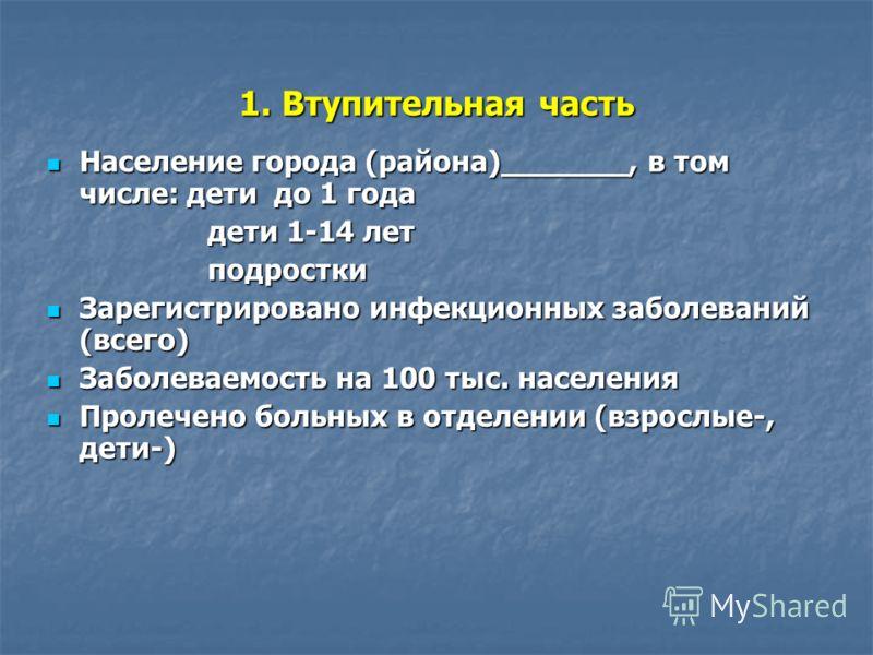 1. Втупительная часть Население города (района)_______, в том числе: дети до 1 года Население города (района)_______, в том числе: дети до 1 года дети 1-14 лет дети 1-14 лет подростки подростки Зарегистрировано инфекционных заболеваний (всего) Зареги