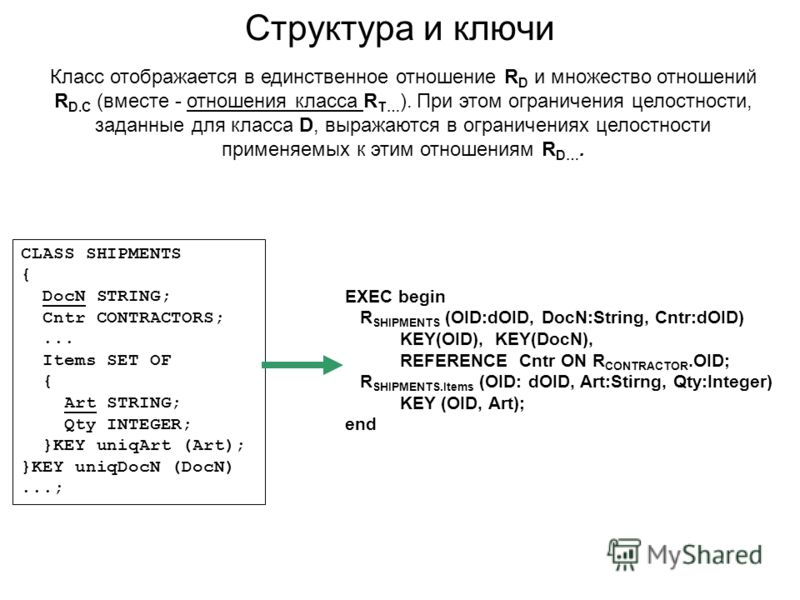 Структура и ключи EXEC begin R SHIPMENTS (OID:dOID, DocN:String, Cntr:dOID) KEY(OID), KEY(DocN), REFERENCE Cntr ON R CONTRACTOR.OID; R SHIPMENTS.Items (OID: dOID, Art:Stirng, Qty:Integer) KEY (OID, Art); end CLASS SHIPMENTS { DocN STRING; Cntr CONTRA