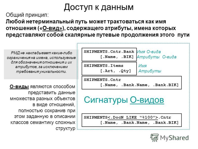 Доступ к данным Общий принцип: Любой нетерминальный путь может трактоваться как имя отношения («О-вид»), содержащего атрибуты, имена которых представляют собой скалярные путевые продолжения этого пути SHIPMENTS.Cntr.Bank [.Name,.BIK] SHIPMENTS.Cntr [