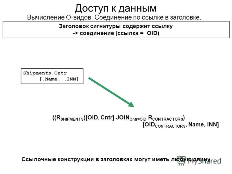 Доступ к данным Вычисление О-видов. Соединение по ссылке в заголовке. Заголовок сигнатуры содержит ссылку -> cоединение (ссылка = OID) ((R SHIPMENTS )[OID, Cntr] JOIN Cntr=OID R CONTRACTORS ) [OID CONTRACTORS, Name, INN] Shipments.Cntr [.Name,.INN] С