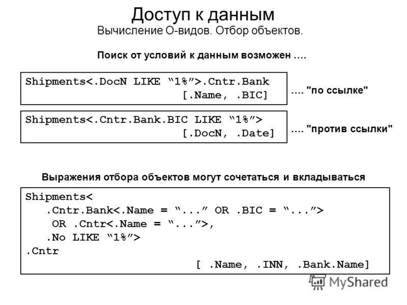 Доступ к данным Вычисление О-видов. Отбор объектов. Выражения отбора объектов могут сочетаться и вкладываться Shipments OR.Cntr,.No LIKE 1%>.Cntr [.Name,.INN,.Bank.Name] Shipments.Cntr.Bank [.Name,.BIC] Shipments [.DocN,.Date] Поиск от условий к данн
