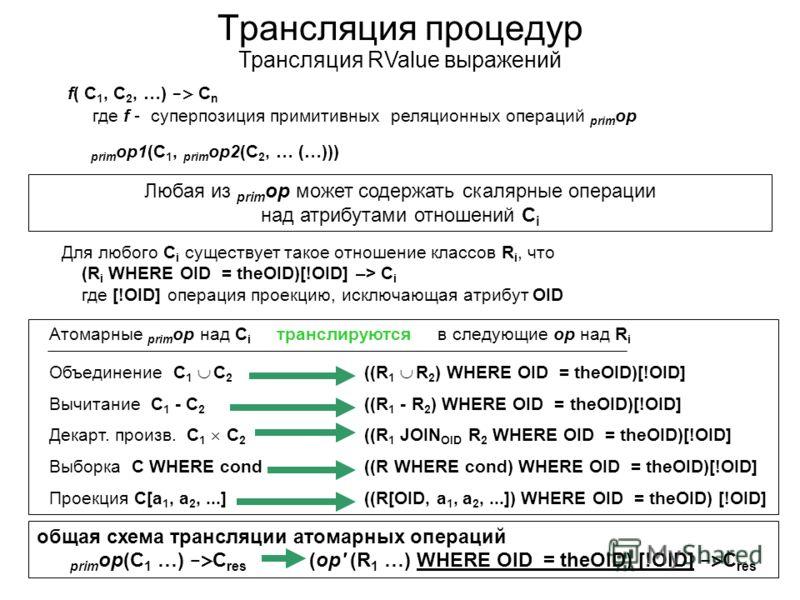 Трансляция процедур Трансляция RValue выражений f( C 1, C 2, …) -> C n где f - суперпозиция примитивных реляционных операций prim op prim op1(C 1, prim op2(C 2, … (…))) Любая из prim op может содержать скалярные операции над атрибутами отношений C i