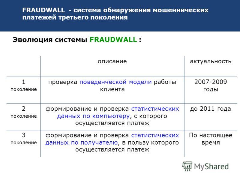 FRAUDWALL - система обнаружения мошеннических платежей третьего поколения описаниеактуальность 1 поколение проверка поведенческой модели работы клиента 2007-2009 годы 2 поколение формирование и проверка статистических данных по компьютеру, с которого