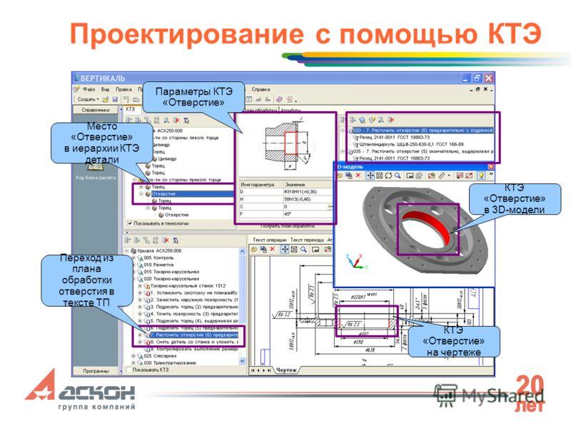 Проектирование с помощью КТЭ Место «Отверстие» в иерархии КТЭ детали Параметры КТЭ «Отверстие» КТЭ «Отверстие» в 3D-модели КТЭ «Отверстие» на чертеже Переход из плана обработки отверстия в тексте ТП