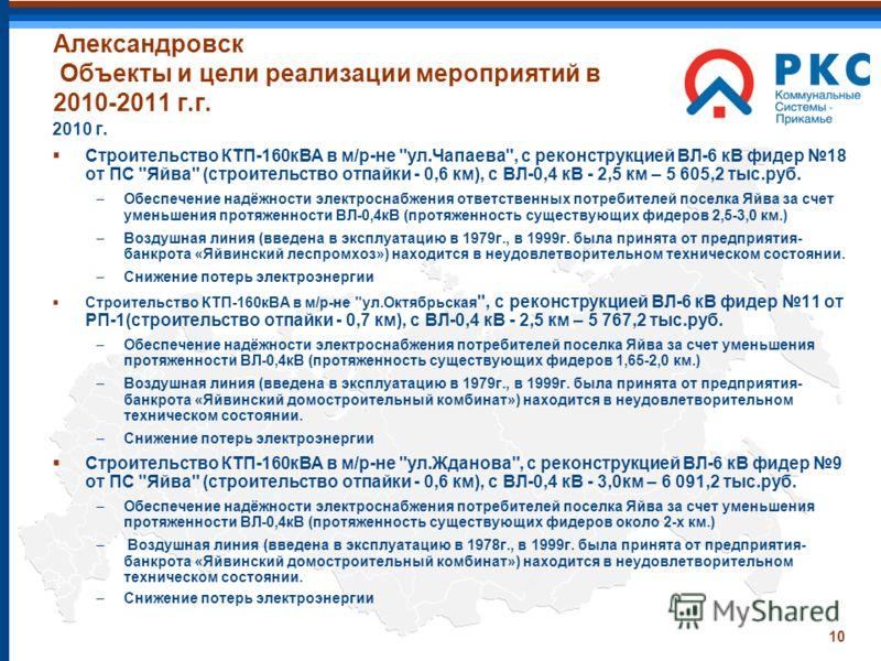10 Александровск Объекты и цели реализации мероприятий в 2010-2011 г.г. 2010 г. Строительство КТП-160кВА в м/р-не