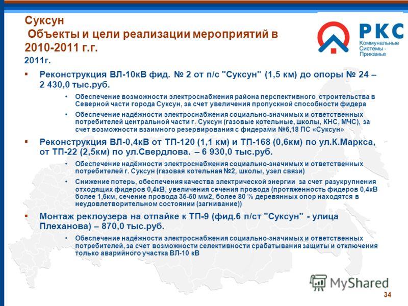 34 Суксун Объекты и цели реализации мероприятий в 2010-2011 г.г. 2011г. Реконструкция ВЛ-10кВ фид. 2 от п/с