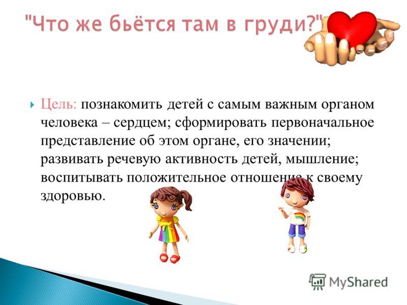 Цель: познакомить детей с самым важным органом человека – сердцем; сформировать первоначальное представление об этом органе, его значении; развивать речевую активность детей, мышление; воспитывать положительное отношение к своему здоровью.