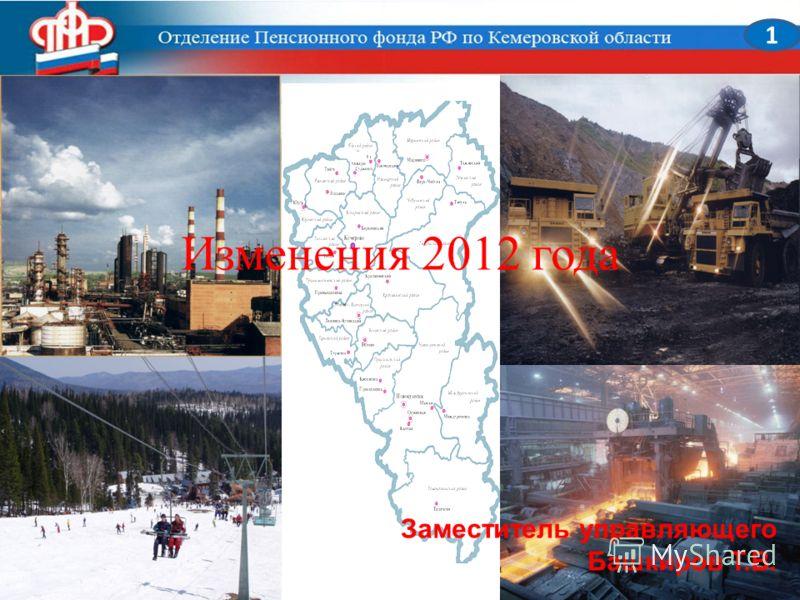 Изменения 2012 года 1 Заместитель управляющего Башкиров Т.В.