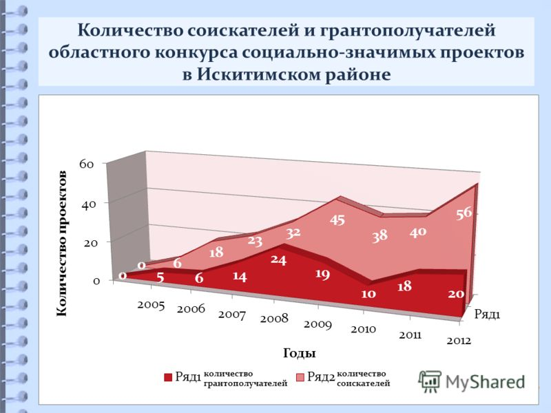 Количество соискателей и грантополучателей областного конкурса социально-значимых проектов в Искитимском районе