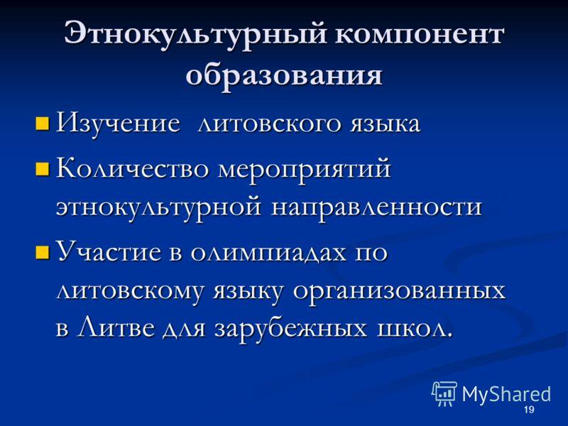 Этнокультурный компонент образования Изучение литовского языка Изучение литовского языка Количество мероприятий этнокультурной направленности Количество мероприятий этнокультурной направленности Участие в олимпиадах по литовскому языку организованных
