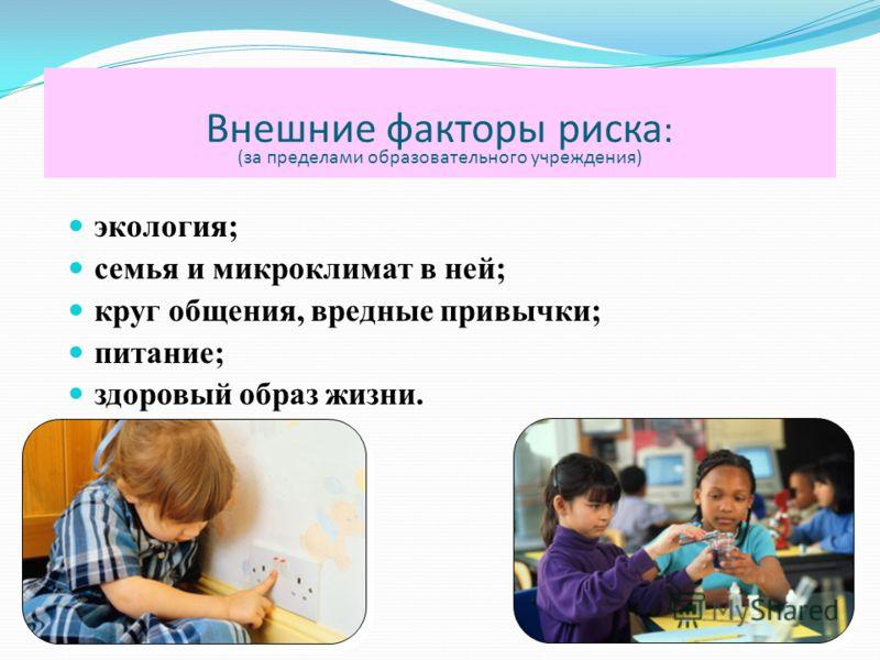 Внешние факторы риска : (за пределами образовательного учреждения) экология; семья и микроклимат в ней; круг общения, вредные привычки; питание; здоровый образ жизни.